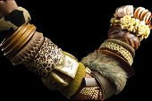 pic of bangles  - costume jewellery with different shades of brown bangles - JPG
