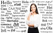 picture of differences  - Young attractive woman over the background with a different world languages  - JPG