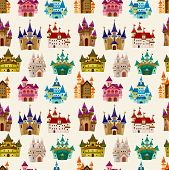 stock photo of fairy  - cartoon Fairy tale castle seamless pattern eps vector file and big jpg file  - JPG