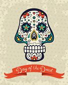 stock photo of sugar skulls  - Card with sugar skull on grunge background - JPG