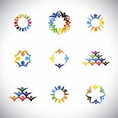picture of children group  - colorful people children employees icons collection set  - JPG