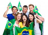 pic of enthusiastic  - Group of happy brazilian soccer fan - JPG