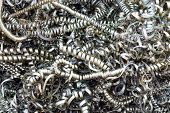 picture of scrap-iron  - Close up twisted metal scrap from lathe machine