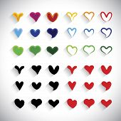 stock photo of libido  - flat design colorful heart icons collection set  - JPG