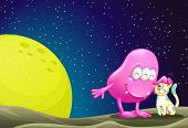picture of outerspace  - Illustration of a pink beanie monster pacifying the cat in the outerspace - JPG