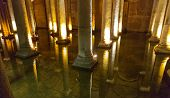 stock photo of cistern  - Wide view of Underground Basilica Cistern and reflections - JPG