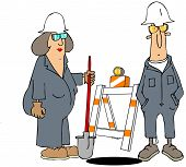 stock photo of barricade  - male and female construction worker standing by a hole with a barricade in back - JPG