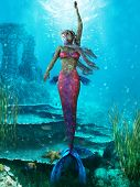 stock photo of fairy tail  - The Mermaid is a legendary aquatic creature with the upper body of a woman and the tail of a fish - JPG