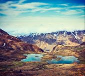pic of himachal pradesh  - Vintage retro effect filtered hipster style travel image of mountain lakes in Spiti Valley in Himalayas - JPG