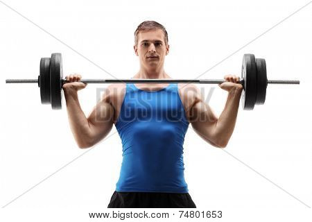 Man in sportswear exercising with a weight isolated on white background
