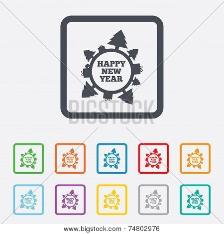 Happy new year globe sign icon. Gifts and trees.