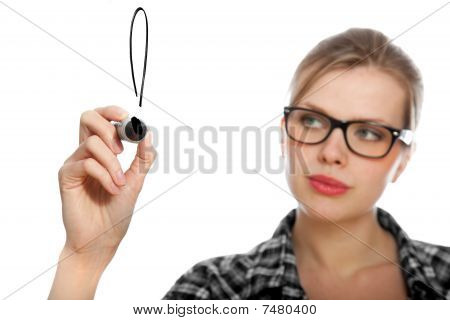 Student Girl Drawing An Exclamation Mark In The Air