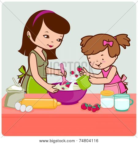 Mother and daughter cooking