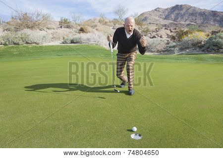 Full length of senior male golfer celebrating sinking putt at golf course