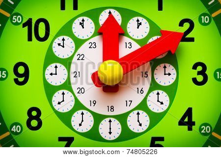Green Clock Display With Red Arrows Closeup