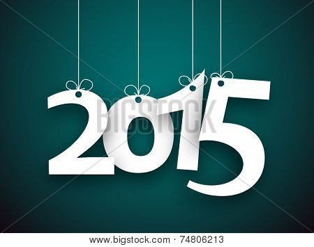 Happy 2015 new year word hanging on threads. Vector paper illustration.