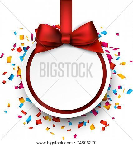 Paper christmas  ball with red satin bow over colorful confetti. Vector background.
