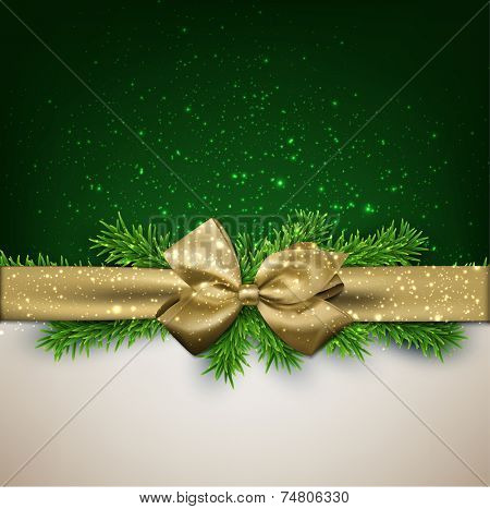 Winter background with crystallic snowflakes with golden gift bow. Christmas fir tree decoration. Vector.