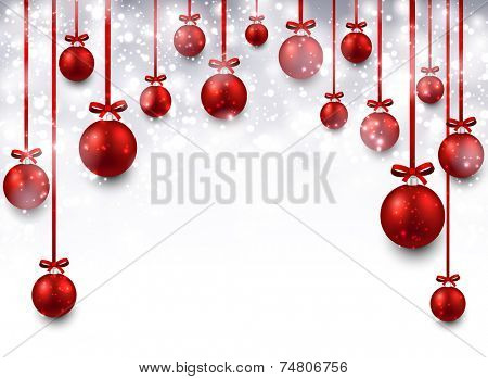 Abstract arc background with red christmas balls. Vector illustration.