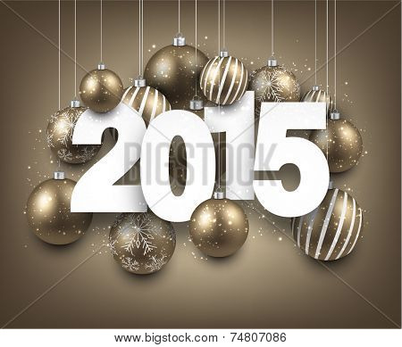 Happy 2015 new year with golden christmas baubles. Vector paper illustration.
