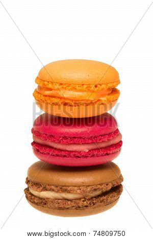 Colorful macaroons isolated on white background cutout