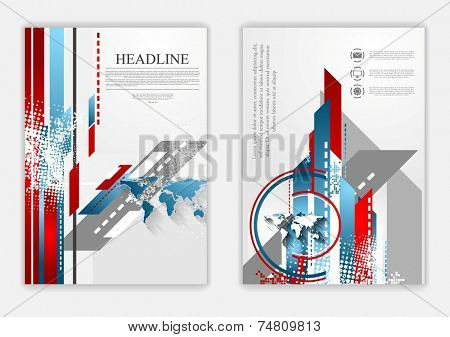 Technical flat flyer design. Vector background
