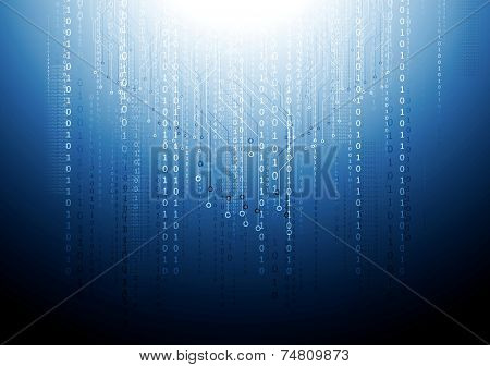 Dark blue circuit board tech background. Vector design
