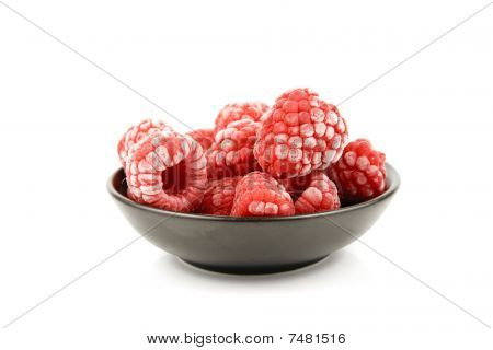 Frozen Raspberries In A Bowl