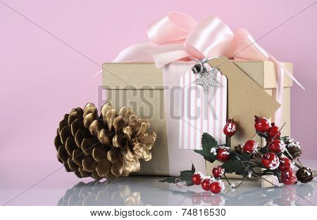Christmas Gift Box In Modern Trend Natural Gift Wrapping With Natural Brown Kraft Paper Boxes And Pa