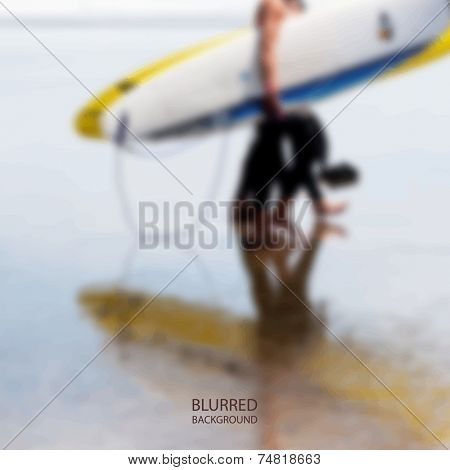 Surfers on the Beach - Blurred Image Background Vector