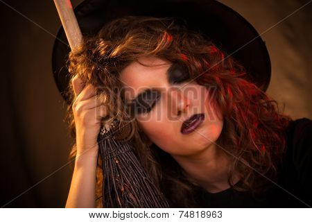 Tired Halloween witch