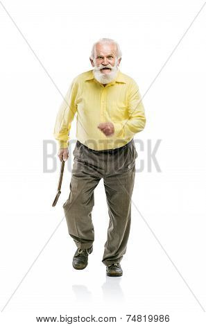 Happy old bearded man walking