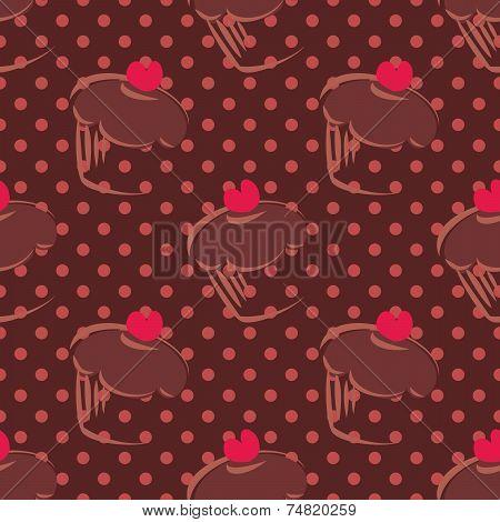 Tile vector cupcakes and polka dots brown pattern