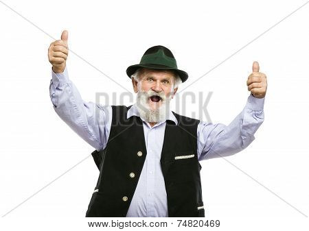 Old bavarian man in hat with thumbs up isolated