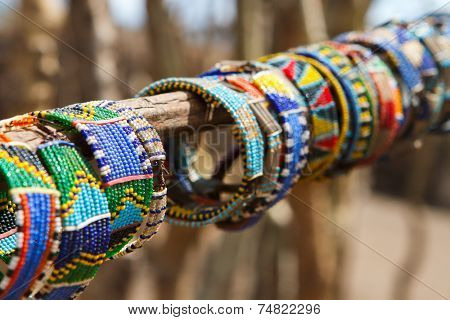 Colorful traditional jewelry of Masai tribe