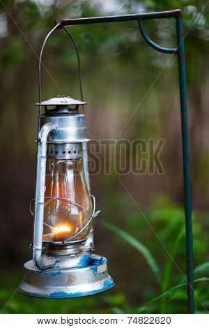 Close up of kerosene lamp used in safari camp in Africa
