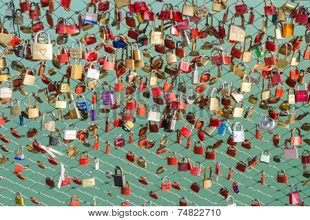 Plenty Of Colorful Locks On Bridge Sign Of Eternal Love Devotion And Loyalty