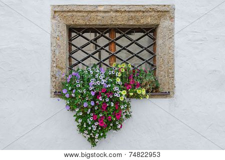 Colorful Flowers On Window Exterior Of Old European House