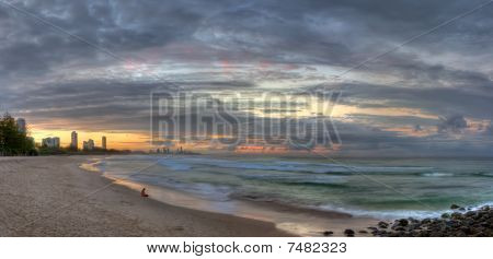 Panoramic View Of The Gold Coast From Burleigh Heads, At Dusk