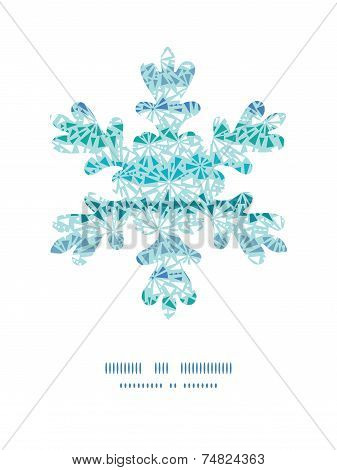 Vector abstract ice chrystals texture Christmas snowflake silhouette pattern frame card template