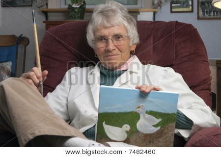 Older Woman With Artwork