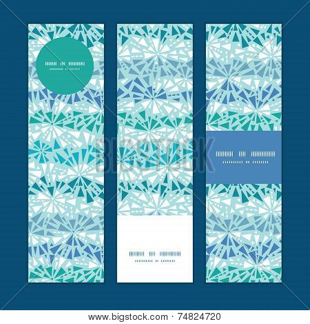 Vector abstract ice chrystals texture vertical banners set pattern background