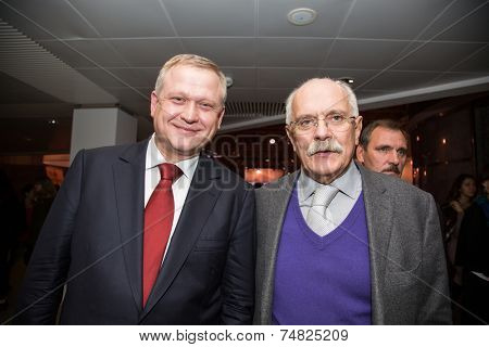 MOSCOW - OCTOBER 17: N. Mikhalkov, S. Kapkov. Talk show. Art, education, and culture during First Moscow International Forum on October 17, 2014 in Moscow, Russia.