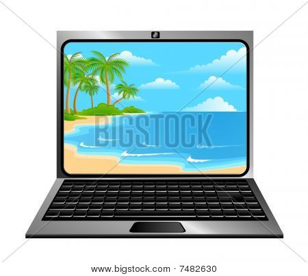 Laptop with beach