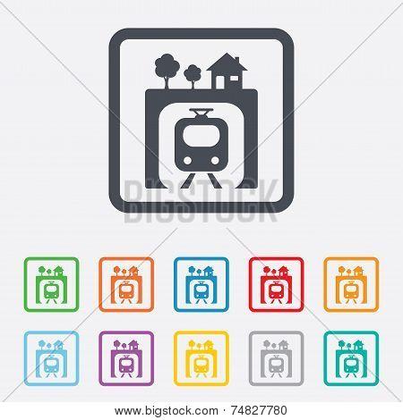 Metro  sign icon. Metro train symbol.