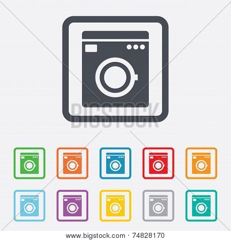 Washing machine icon. Home appliances symbol.