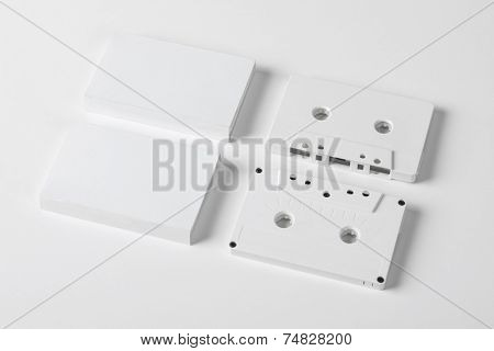 A set of blank audio cassette on white background with blank packaging