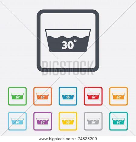 Wash icon. Machine washable at 30 degrees symbol
