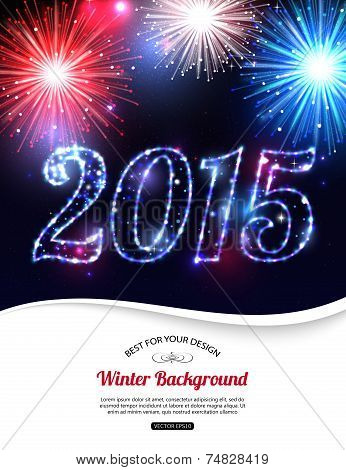 Happy New Year 2015 celebration concept with fireworks and place for text. Shining Christmas backgro