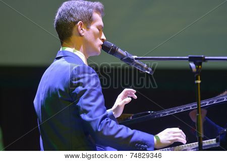 NOVOSIBIRSK, RUSSIA - OCTOBER 23, 2014: English jazz singer Anthony Strong at the piano during Sib Jazz Fest. The festival took place on October 23-25